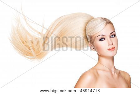 Beautiful Woman With Long White Hair.
