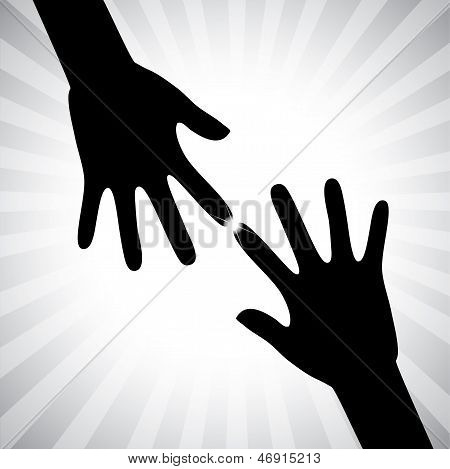 Concept Vector Graphic Two Hand Silhouettes Touching Each