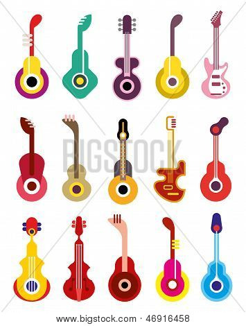 Guitar - Vector Icon Set