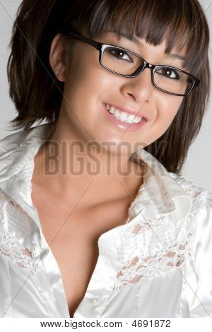 Smiling Glasses Girl