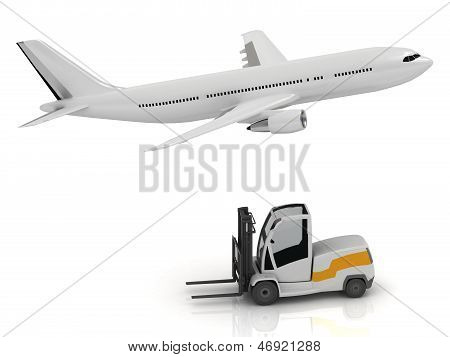 Passenger Airliner And Forklift