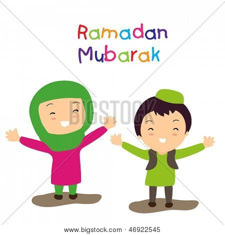 Muslim community holy month Ramadan Mubarak background with two happy muslim kids in traditional outfits.