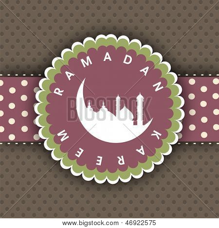 Ramadan Kareem tag or label with view of mosque and moon on brown background.