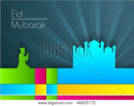 Colorful illustration of mosque and muslim man in tradition dress praying(reading Namaz, Islamic Prayer) on shiny abstract blue background.
