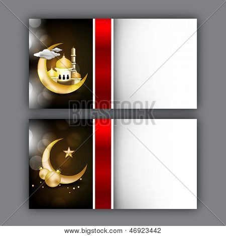 Muslim community festival Eid Mubarak greeting card or gift card with golden moon and mosque