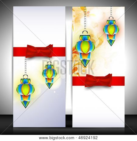 Muslim community festival Eid Mubarak greeting card or gift card with hanging lamps and red ribbon.
