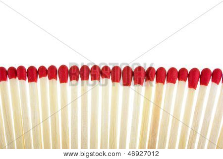 Set Of Red Matches Isolated On White Background