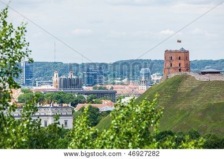 Panoramic view of Vilnius Gediminas castle