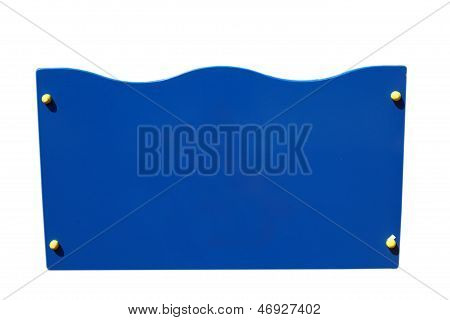 sign blue blank plate message board road empty background frame