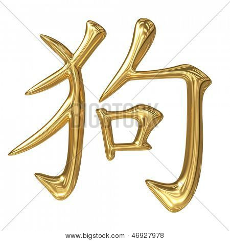 horoscope: spinning golden sign of oriental (chinese) zodiac - dog