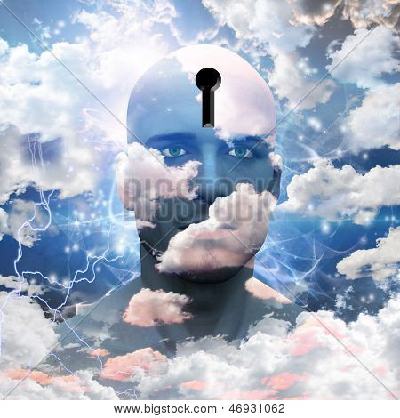 Man with clouds paint and keyhole in head