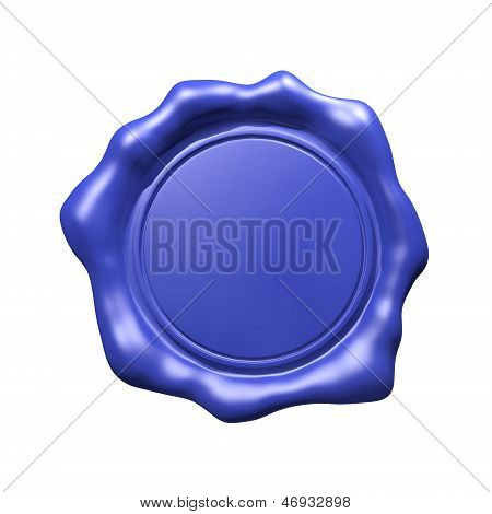 Blue Wax Seal - Isolated (Blank)