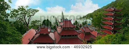 Landscape With Pagoda On Mountain Ta Ku. Vietnam