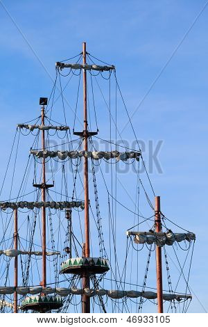 Ship Tackles, Rigging On A Old Frigate