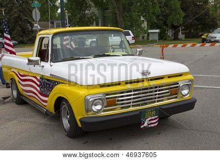 1970's Yellow U.s. Flag Ford Truck