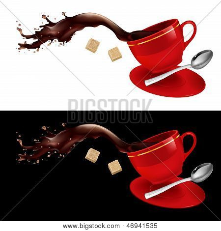 Coffee in red Cup.