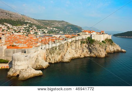 Panoramic Sea View Of Old Dubrovnik With The Bay And The City Wall.