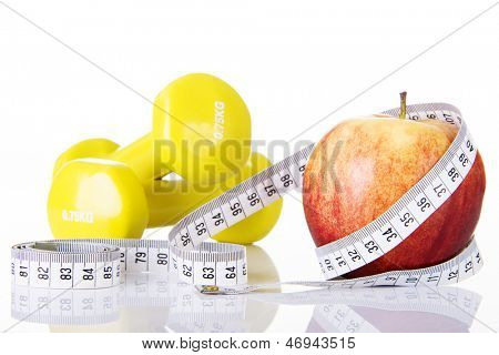 Apple for diet concept, isolated on white