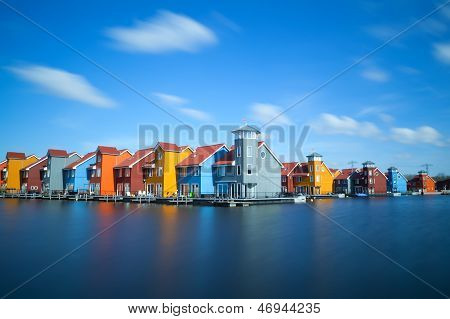 Colorful Buildings At Reitdiephaven, Groningen