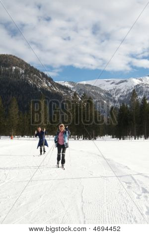 Senior Couple Doing Crosscountry Skiing