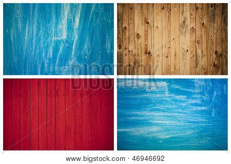 The Grunge Wood Texture With Natural Patterns. Surface Of Old Wood Paint Over. Set, Collage