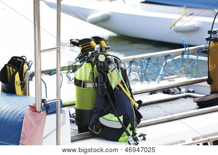 Diving Equipment On A Boat