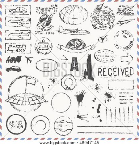 Vector set - vintage hand drawn postage stamps