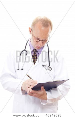 Professional Medical Doctor Checking The Waiting List