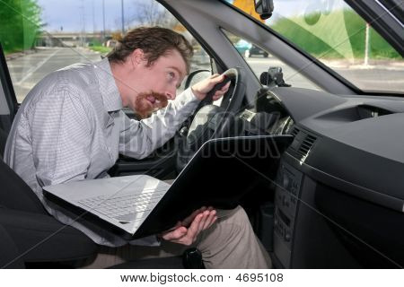 Driver Using Gps Laptop