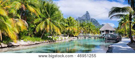Panorama of a beautiful coast with Otemanu mountain view on Bora Bora island
