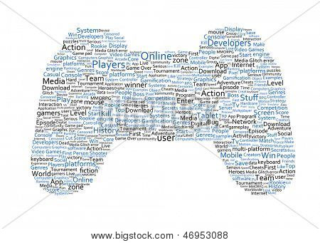 Various blue words representing a joystick on white background
