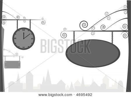 Old Vintage Clock And Ad Table, Vector