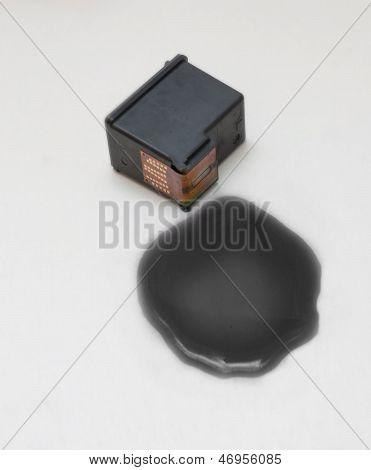 Black Ink Cartridge On White Background