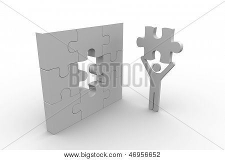White human figure holding the missing jigsaw piece on white background
