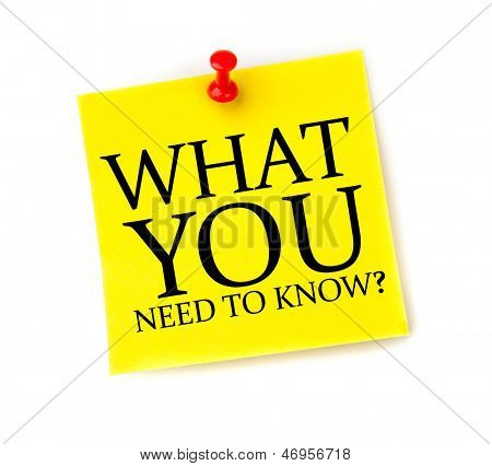 Post it with What you need to know written on it on white background