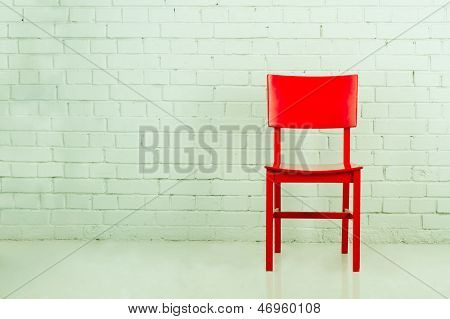Red Chair In Empty Room