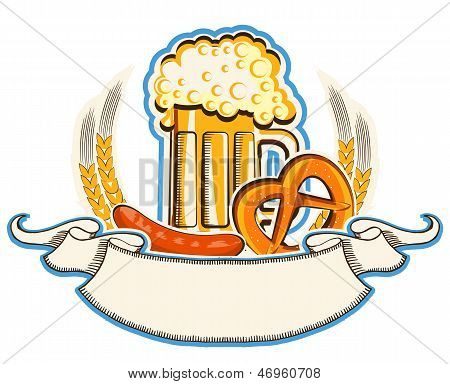 Oktoberfest Symbol With Beer And Traditional Food And Scroll Background