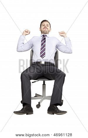 Inviting Business Man Sitting On Chair