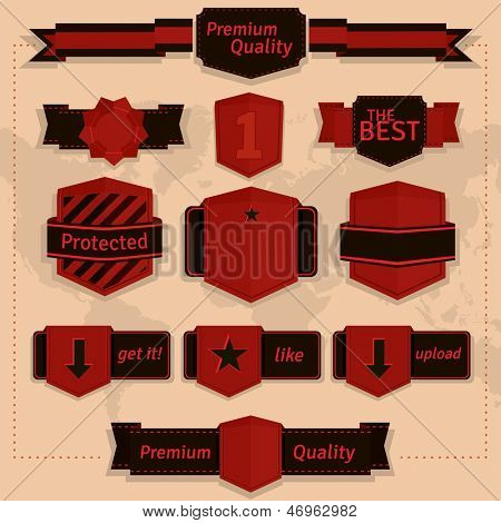 Set of vintage labels and badges in red and brown colour.