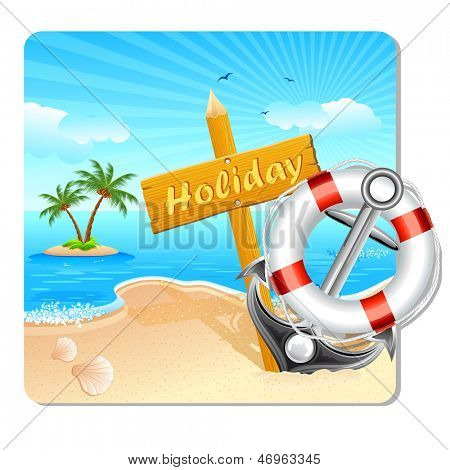 illustration of lifebouy and anchor with holiday board on sea beach