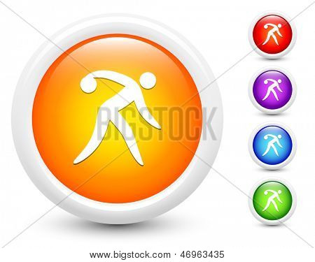 Bowling Icons on Round Button Collection Original Illustration