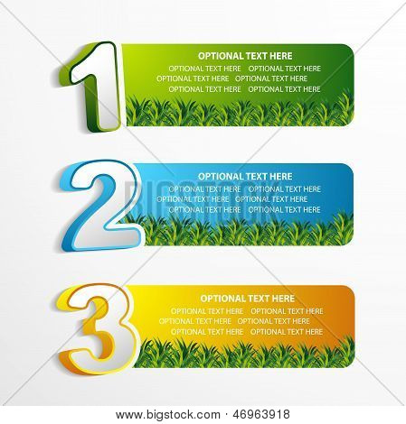 1 2 3 position banner with grass element