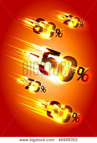 Meteor rain discounts, sale background. Eps10 Vector.
