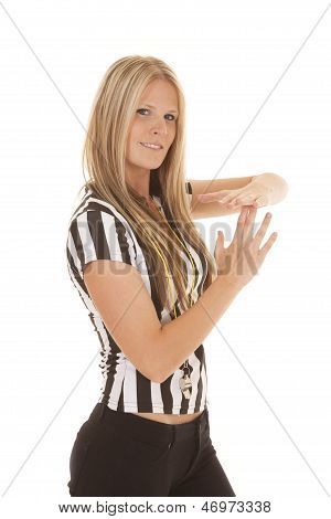 Woman Referee Smile Time Out