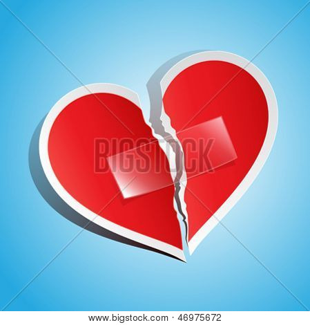 Vector illustration of a torn paper heart fixed with tape