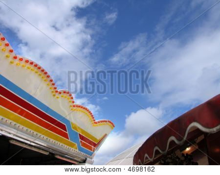 Canopy Of Dodgem And Fairground Stall, Brighton, England, Uk