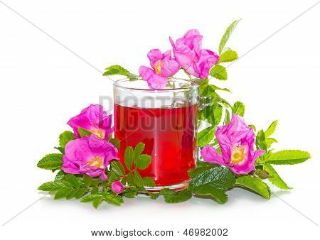Rosa Canina Flowers With A Herbal Infusion