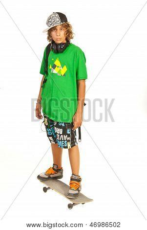 Serious Schoolboy Teen On Skateboard