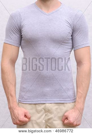 T-shirt Cotton On A Young Man Template Athletic Body Sportsman Torso Front View