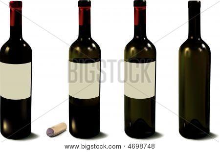 Four Red Wine Bottles - Vector Illustration